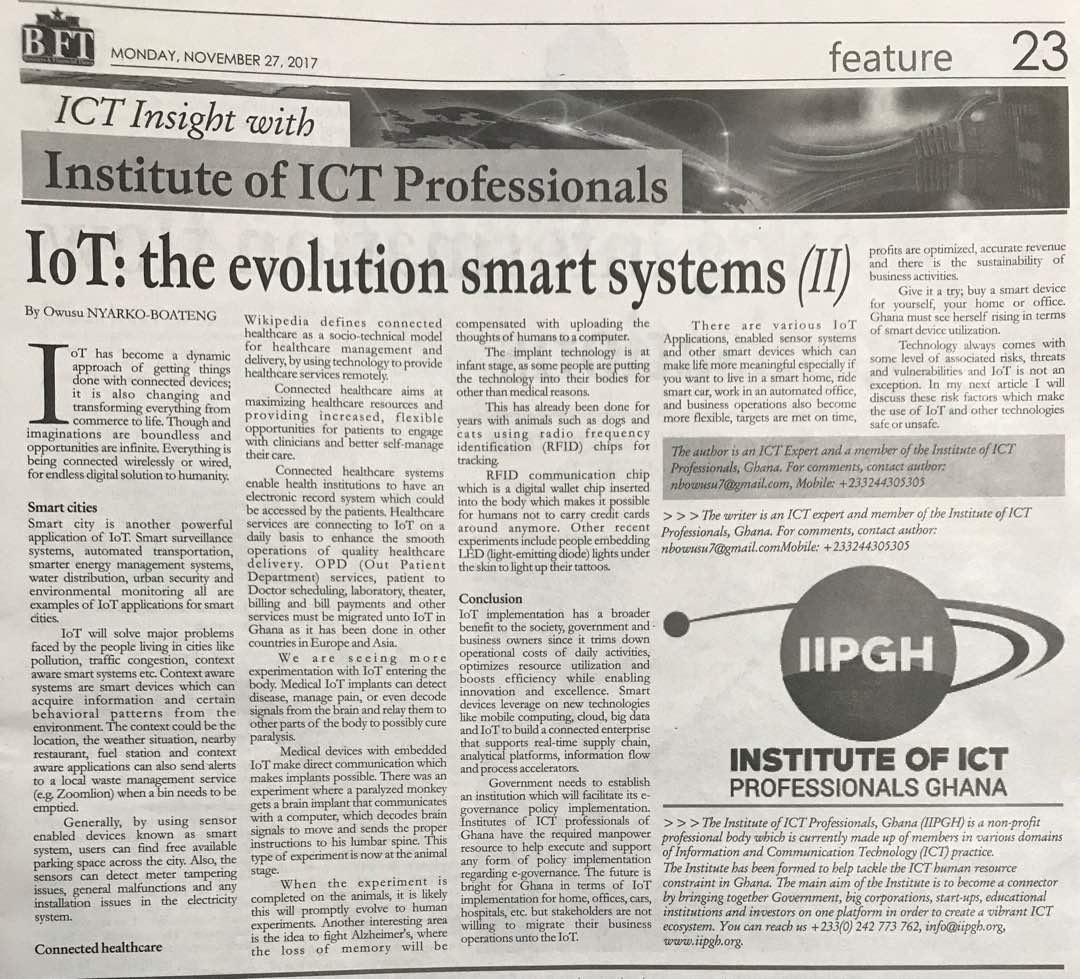 IIPGH weekly article published in Today's B&FT